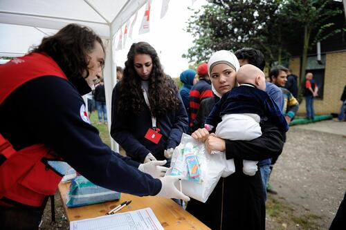 Red Cross station in Serbia, 2015.